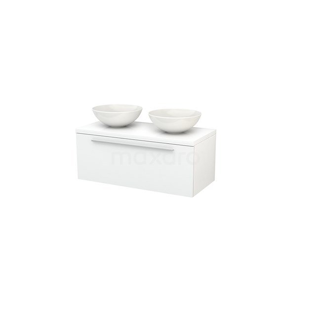 Badkamermeubel voor Waskom 100cm Modulo+ Plato Hoogglans Wit 1 Lade Vlak BMK001360
