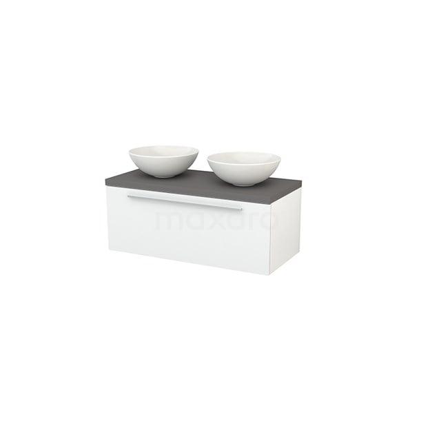 Badkamermeubel voor Waskom 100cm Modulo+ Plato Hoogglans Wit 1 Lade Vlak Basalt Blad BMK001361