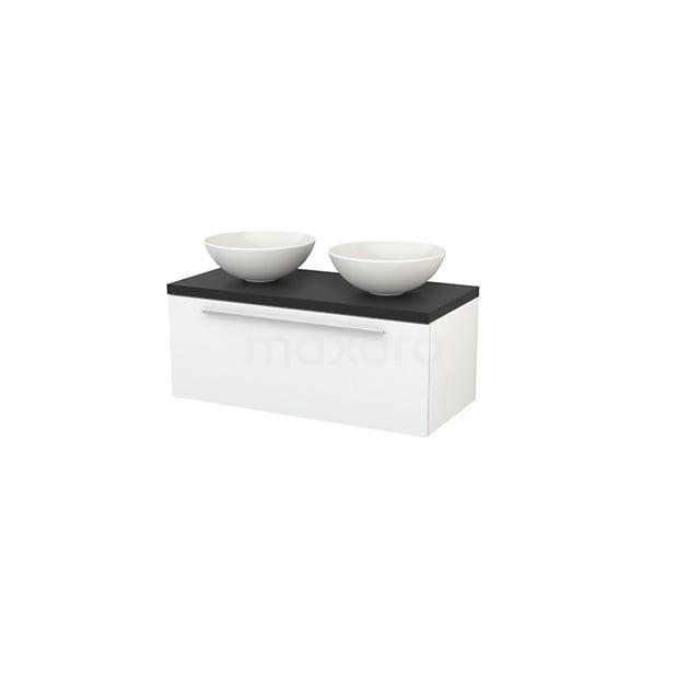 Badkamermeubel voor Waskom 100cm Modulo+ Plato Hoogglans Wit 1 Lade Vlak Carbon Blad BMK001362