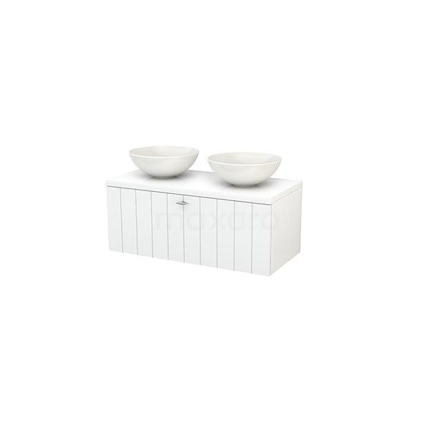 Badkamermeubel voor Waskom 100cm Modulo+ Plato Hoogglans Wit 1 Lade Lamel BMK001366