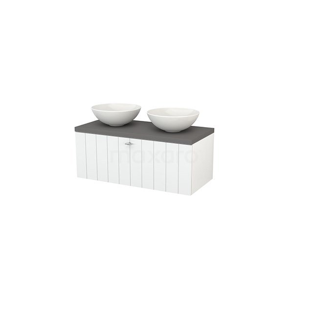 Badkamermeubel voor Waskom 100cm Modulo+ Plato Hoogglans Wit 1 Lade Lamel Basalt Blad BMK001367