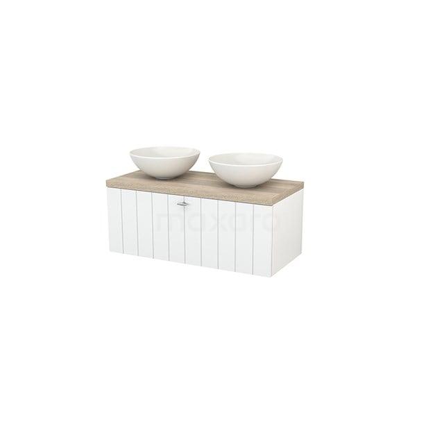 Badkamermeubel voor Waskom 100cm Modulo+ Plato Hoogglans Wit 1 Lade Lamel Eiken Blad BMK001369