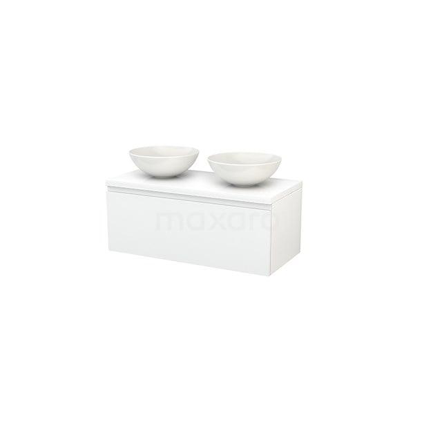 Badkamermeubel voor Waskom 100cm Modulo+ Plato Hoogglans Wit 1 Lade Greeploos BMK001378