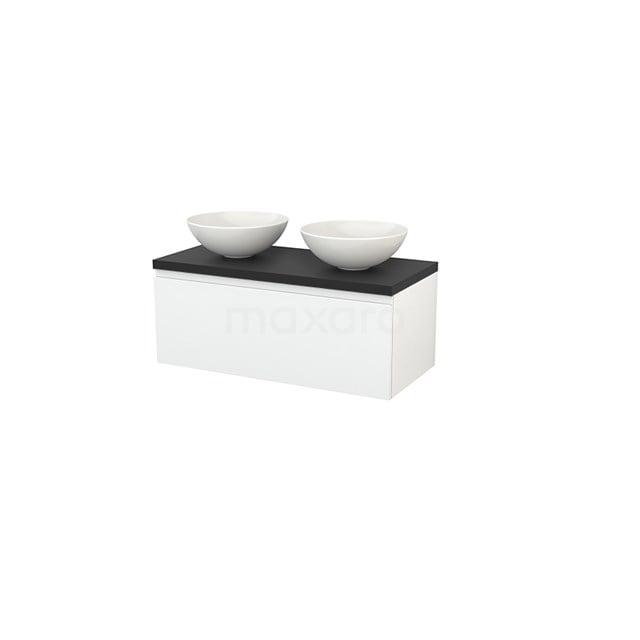 Badkamermeubel voor Waskom 100cm Modulo+ Plato Hoogglans Wit 1 Lade Greeploos Carbon Blad BMK001380