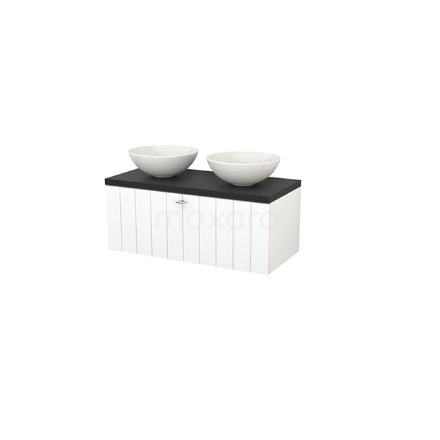 Badkamermeubel voor Waskom 100cm Modulo+ Plato Mat Wit 1 Lade Lamel Carbon Blad BMK001392