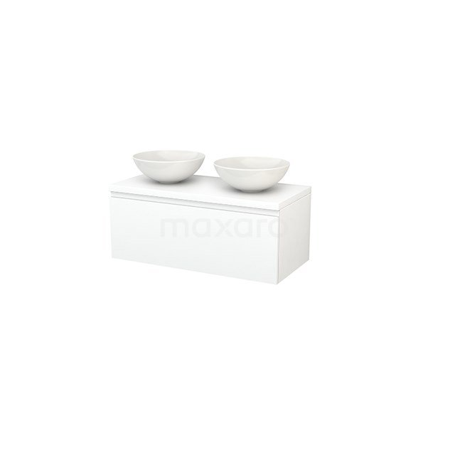 Badkamermeubel voor Waskom 100cm Modulo+ Plato Mat Wit 1 Lade Greeploos BMK001402