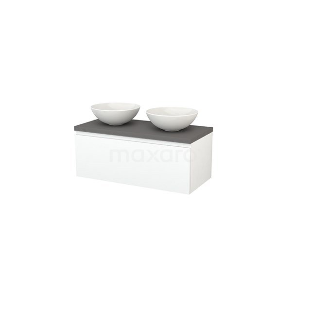 Badkamermeubel voor Waskom 100cm Modulo+ Plato Mat Wit 1 Lade Greeploos Basalt Blad BMK001403