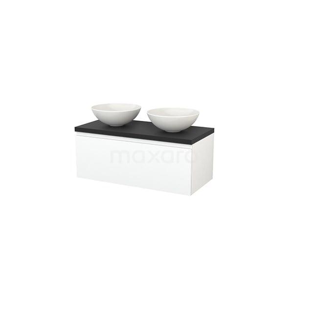 Badkamermeubel voor Waskom 100cm Modulo+ Plato Mat Wit 1 Lade Greeploos Carbon Blad BMK001404