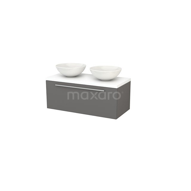 Badkamermeubel voor Waskom 100cm Modulo+ Plato Basalt 1 Lade Vlak Mat Wit Blad BMK001408