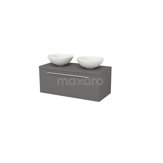 Badkamermeubel voor Waskom 100cm Modulo+ Plato Basalt 1 Lade Vlak BMK001410