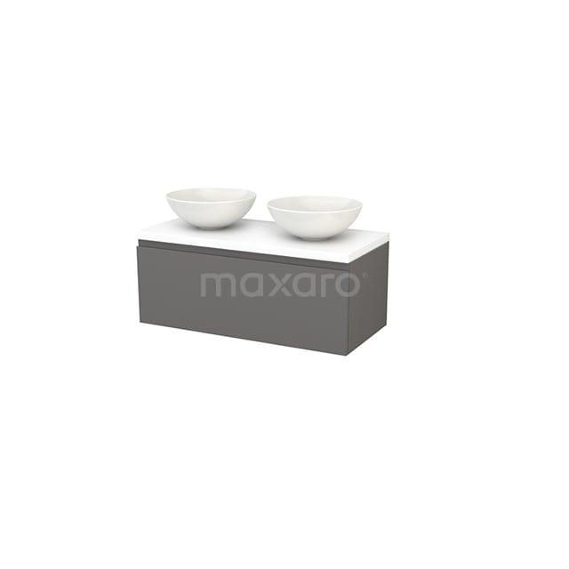 Badkamermeubel voor Waskom 100cm Modulo+ Plato Basalt 1 Lade Greeploos Mat Wit Blad BMK001417