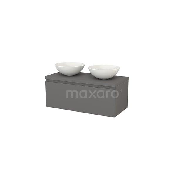 Badkamermeubel voor Waskom 100cm Modulo+ Plato Basalt 1 Lade Greeploos BMK001419