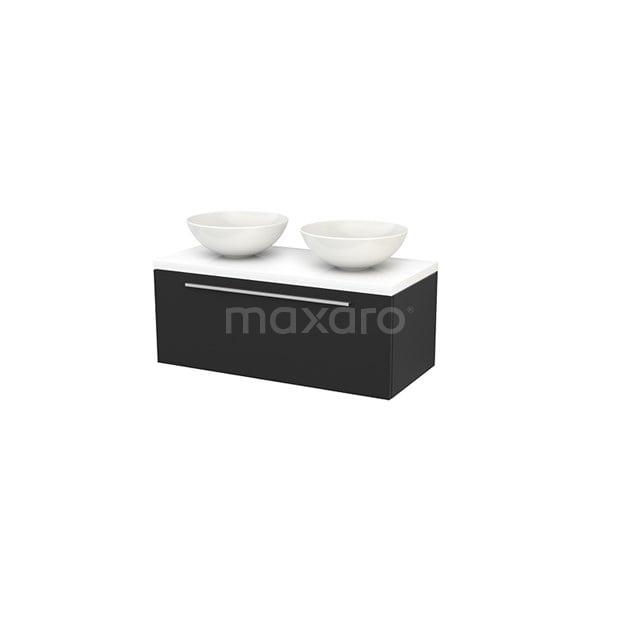 Badkamermeubel voor Waskom 100cm Modulo+ Plato Carbon 1 Lade Vlak Hoogglans Wit Blad BMK001421