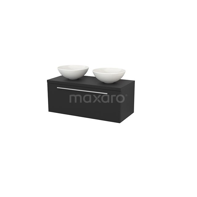 Badkamermeubel voor Waskom 100cm Modulo+ Plato Carbon 1 Lade Vlak BMK001422