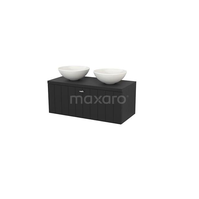 Badkamermeubel voor Waskom 100cm Modulo+ Plato Carbon 1 Lade Lamel BMK001425