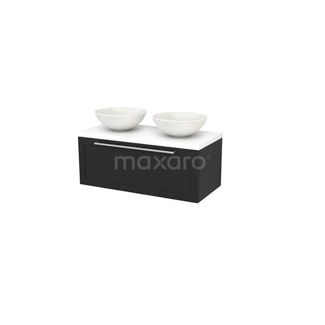 Badkamermeubel voor Waskom 100cm Modulo+ Plato Carbon 1 Lade Kader Mat Wit Blad BMK001426