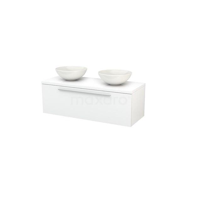 Badkamermeubel voor Waskom 120cm Modulo+ Plato Hoogglans Wit 1 Lade Vlak BMK001450