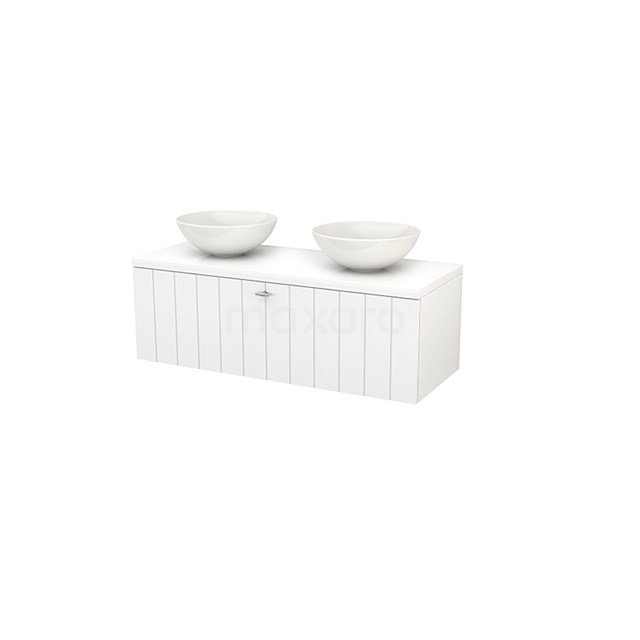 Badkamermeubel voor Waskom 120cm Modulo+ Plato Hoogglans Wit 1 Lade Lamel BMK001456
