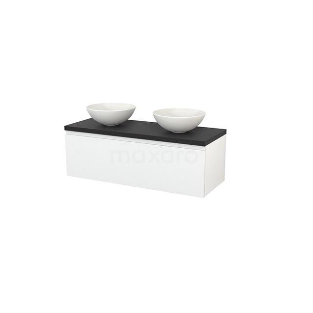 Badkamermeubel voor Waskom 120cm Hoogglans Wit Greeploos Modulo+ Plato Carbon Blad BMK001470