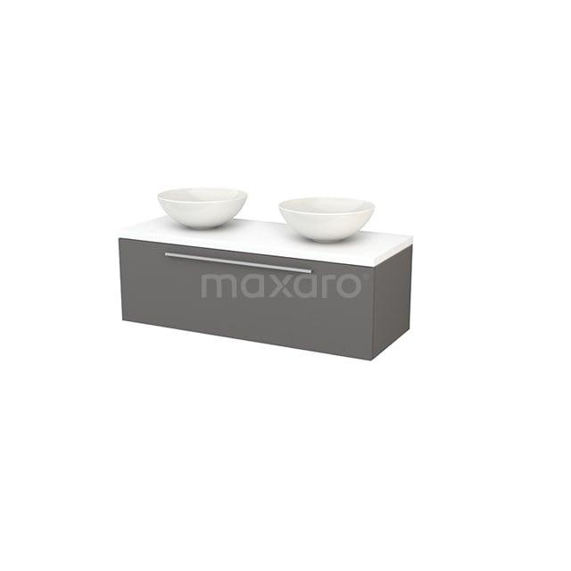 Badkamermeubel voor Waskom 120cm Basalt Vlak Modulo+ Plato Mat Wit Blad BMK001498