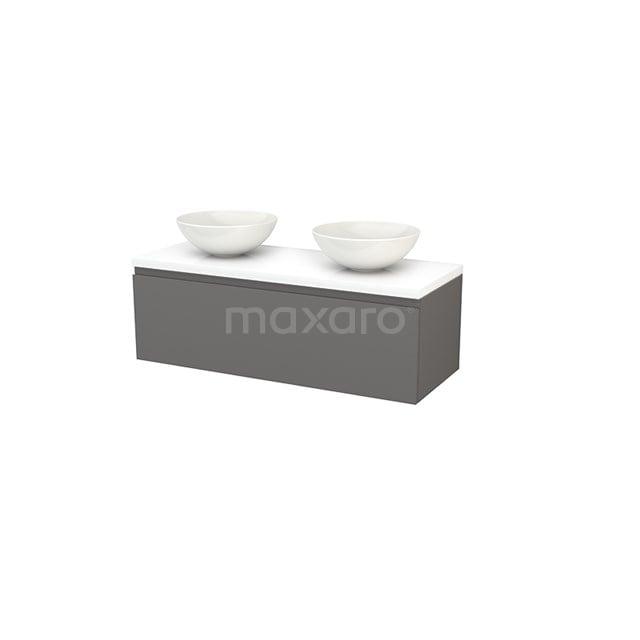 Badkamermeubel voor Waskom 120cm Basalt Greeploos Modulo+ Plato Hoogglans Wit Blad BMK001508
