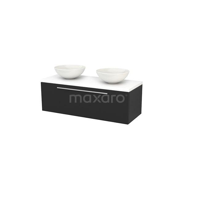 Badkamermeubel voor Waskom 120cm Carbon Vlak Modulo+ Plato Mat Wit Blad BMK001510