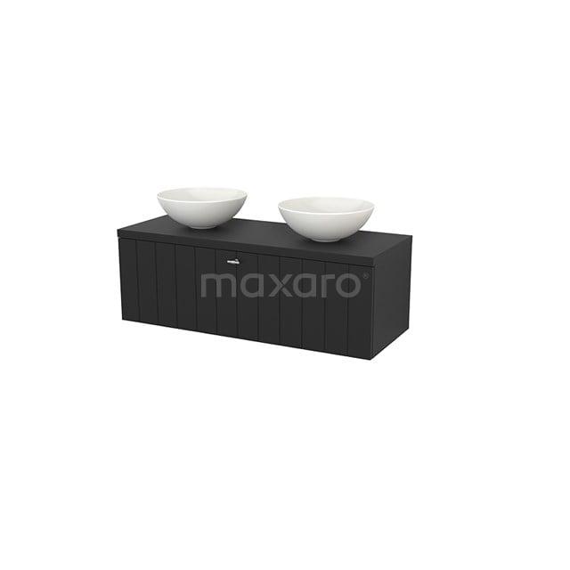 Badkamermeubel voor Waskom 120cm Modulo+ Plato Carbon 1 Lade Lamel BMK001515