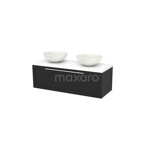 Badkamermeubel voor Waskom 120cm Carbon Kader Modulo+ Plato Mat Wit Blad BMK001516