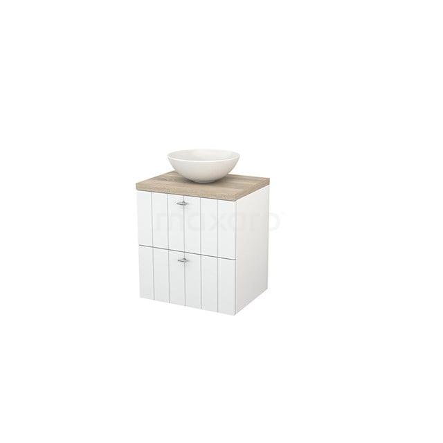 Badkamermeubel voor Waskom 60cm Hoogglans Wit Lamel Modulo+ Plato Eiken Blad BMK001549
