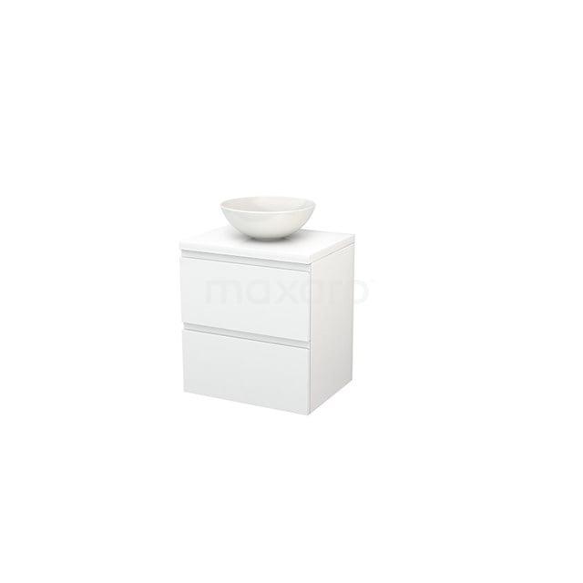 Badkamermeubel voor Waskom 60cm Modulo+ Plato Hoogglans Wit 2 Lades Greeploos BMK001558
