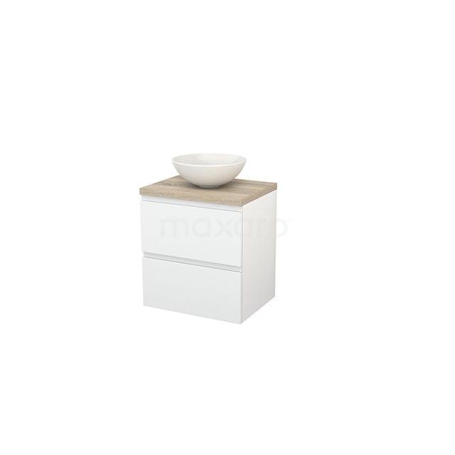 Badkamermeubel voor Waskom 60cm Hoogglans Wit Greeploos Modulo+ Plato Eiken Blad BMK001561