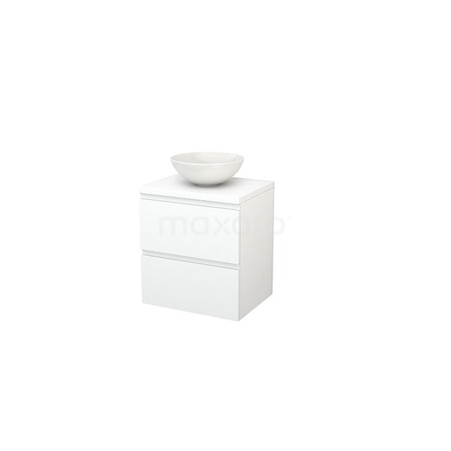 Badkamermeubel voor Waskom 60cm Modulo+ Plato Mat Wit 2 Lades Greeploos BMK001582