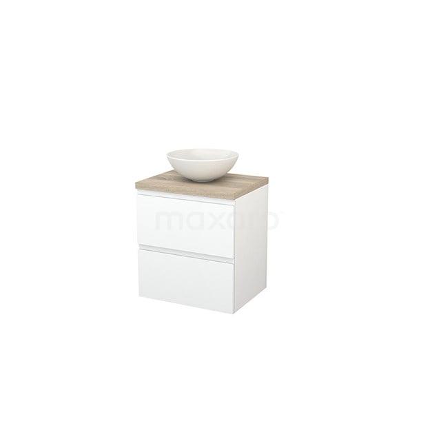Badkamermeubel voor Waskom 60cm Mat Wit Greeploos Modulo+ Plato Eiken Blad BMK001585