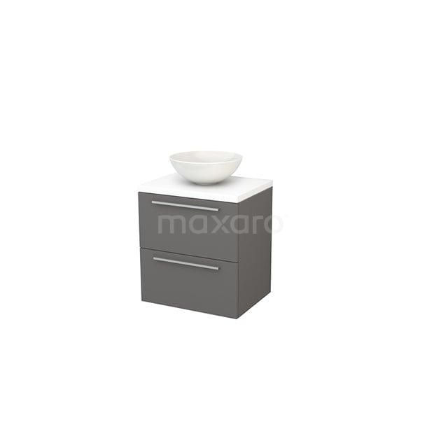 Badkamermeubel voor Waskom 60cm Basalt Vlak Modulo+ Plato Mat Wit Blad BMK001588