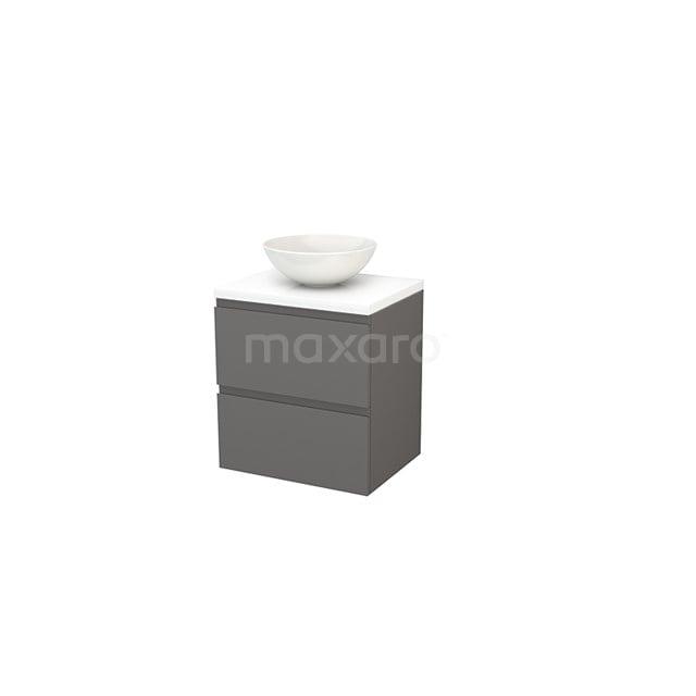 Badkamermeubel voor Waskom 60cm Basalt Greeploos Modulo+ Plato Hoogglans Wit Blad BMK001598
