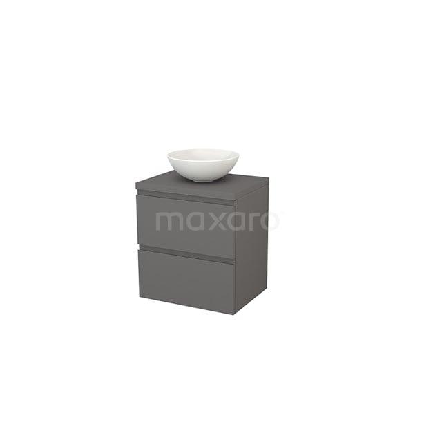 Badkamermeubel voor Waskom 60cm Modulo+ Plato Basalt 2 Lades Greeploos BMK001599