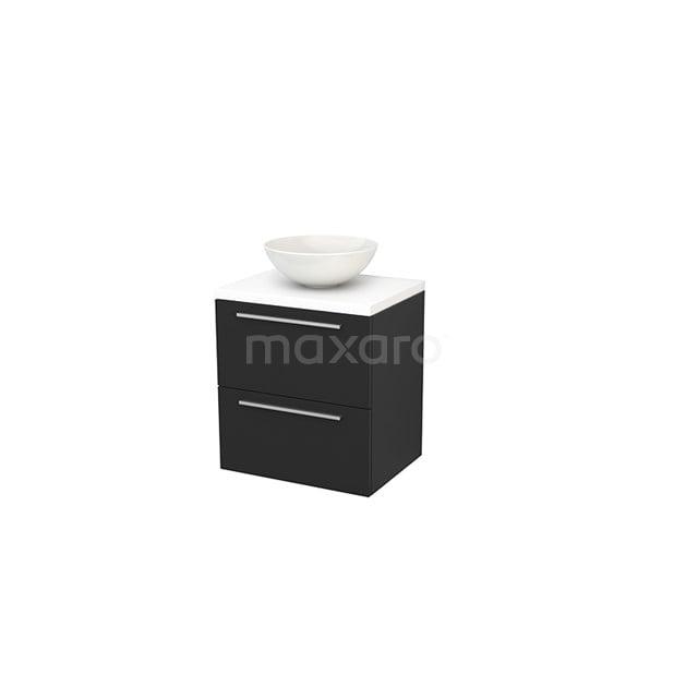 Badkamermeubel voor Waskom 60cm Carbon Vlak Modulo+ Plato Mat Wit Blad BMK001600