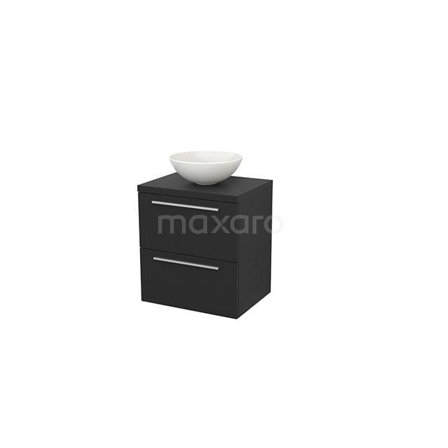 Badkamermeubel voor Waskom 60cm Modulo+ Plato Carbon 2 Lades Vlak BMK001602