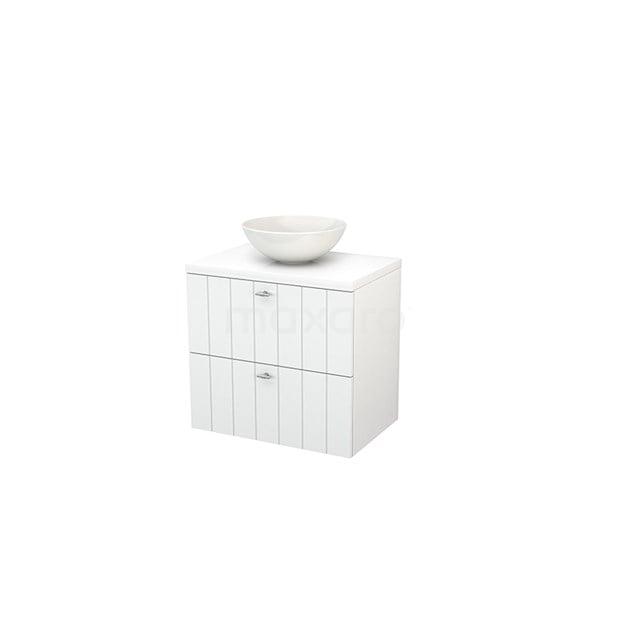 Badkamermeubel voor Waskom 70cm Modulo+ Plato Hoogglans Wit 2 Lades Lamel BMK001636