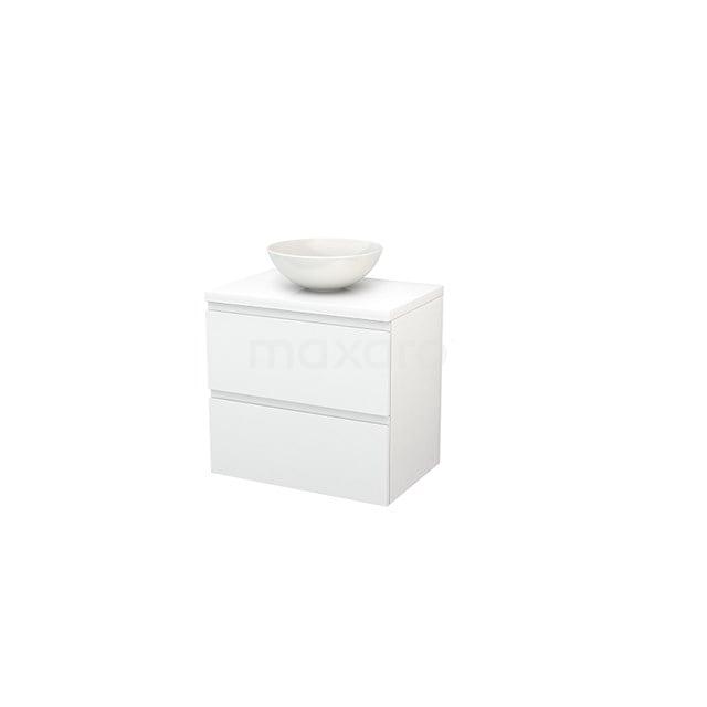 Badkamermeubel voor Waskom 70cm Modulo+ Plato Hoogglans Wit 2 Lades Greeploos BMK001648