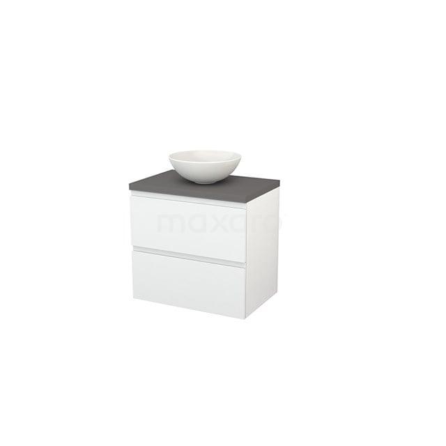 Badkamermeubel voor Waskom 70cm Hoogglans Wit Greeploos Modulo+ Plato Basalt Blad BMK001649