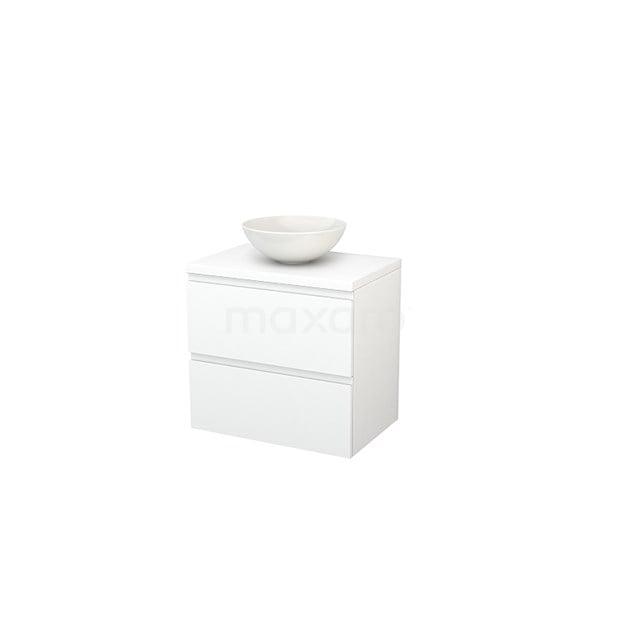Badkamermeubel voor Waskom 70cm Modulo+ Plato Mat Wit 2 Lades Greeploos BMK001672