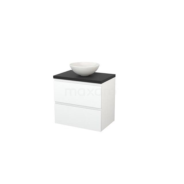 Badkamermeubel voor Waskom 70cm Mat Wit Greeploos Modulo+ Plato Carbon Blad BMK001674