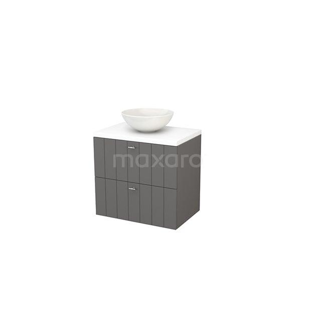 Badkamermeubel voor Waskom 70cm Basalt Lamel Modulo+ Plato Mat Wit Blad BMK001681