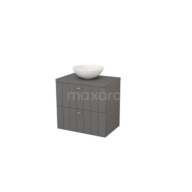 Badkamermeubel voor Waskom 70cm Modulo+ Plato Basalt 2 Lades Lamel BMK001683