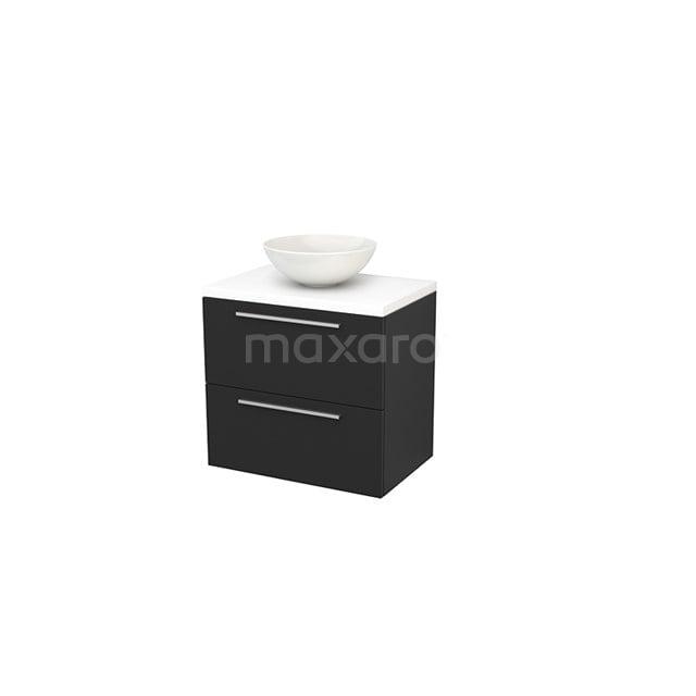 Badkamermeubel voor Waskom 70cm Carbon Vlak Modulo+ Plato Mat Wit Blad BMK001690