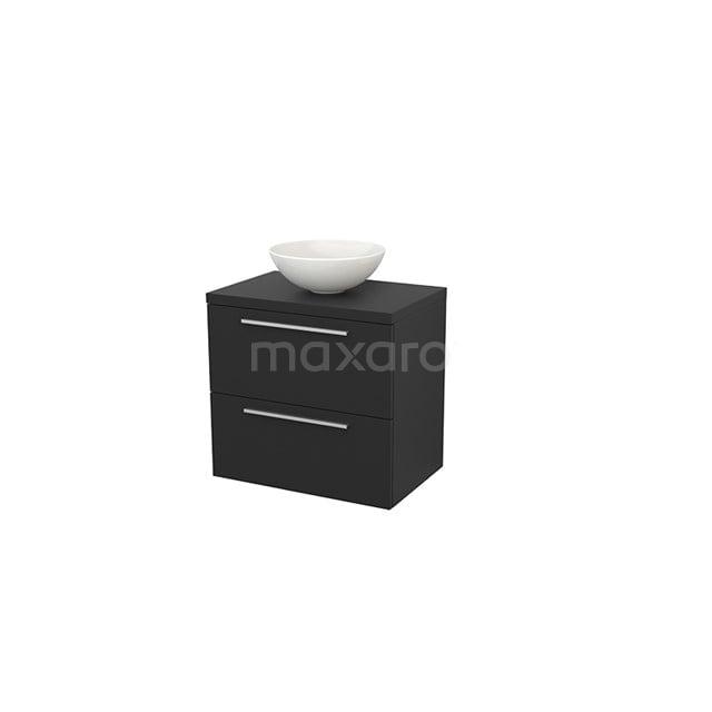 Badkamermeubel voor Waskom 70cm Modulo+ Plato Carbon 2 Lades Vlak BMK001692
