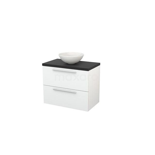 Badkamermeubel voor Waskom 80cm Hoogglans Wit Vlak Modulo+ Plato Carbon Blad BMK001722