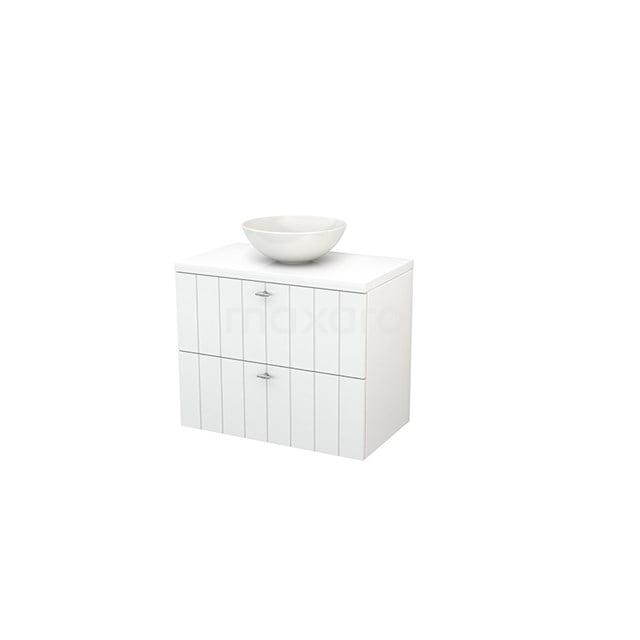 Badkamermeubel voor Waskom 80cm Modulo+ Plato Hoogglans Wit 2 Lades Lamel BMK001726