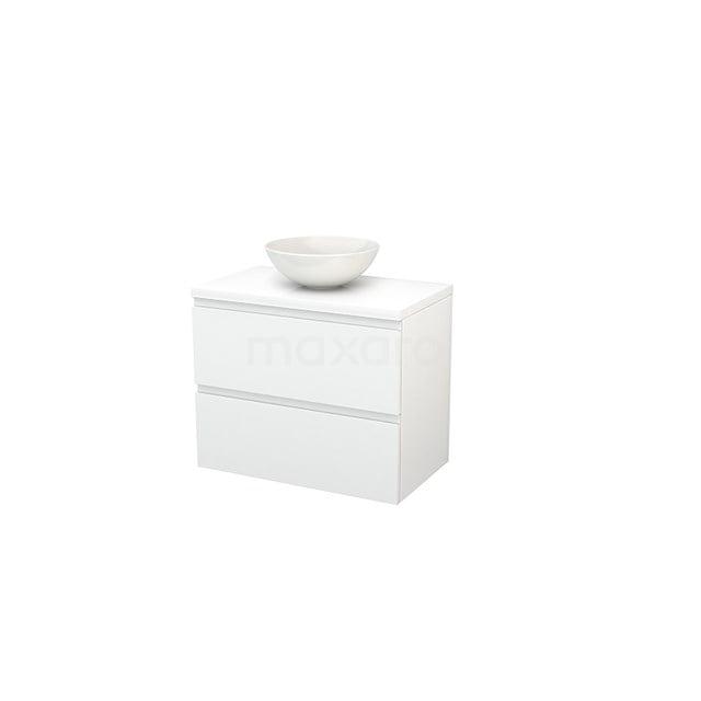 Badkamermeubel voor Waskom 80cm Modulo+ Plato Hoogglans Wit 2 Lades Greeploos BMK001738